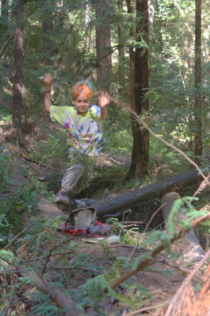 Child running through forest
