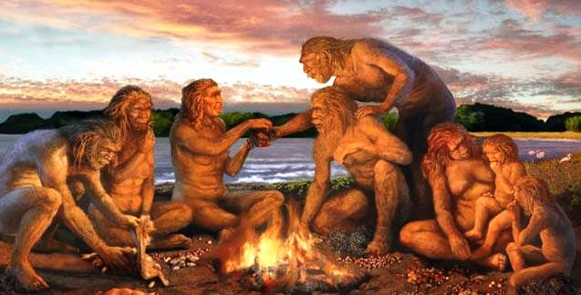 Early Man Using Fire