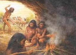 Early Man Sitting Around Fire in a Cave