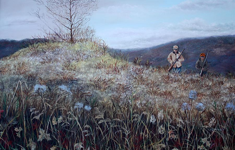 painting of a father and son hunting