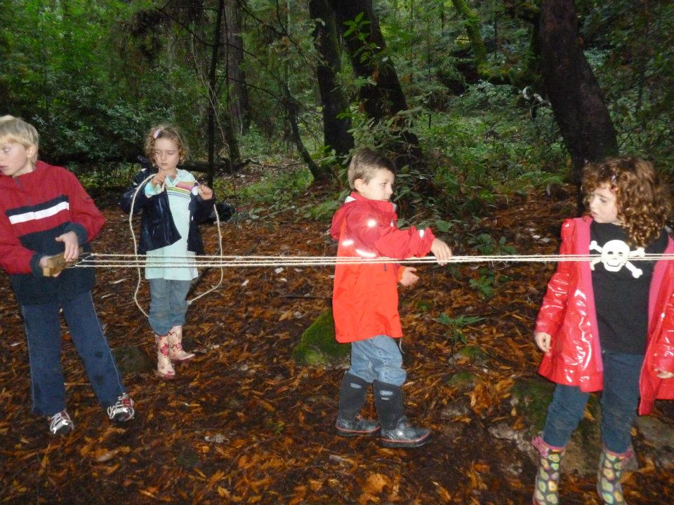 Kids working together to make rope